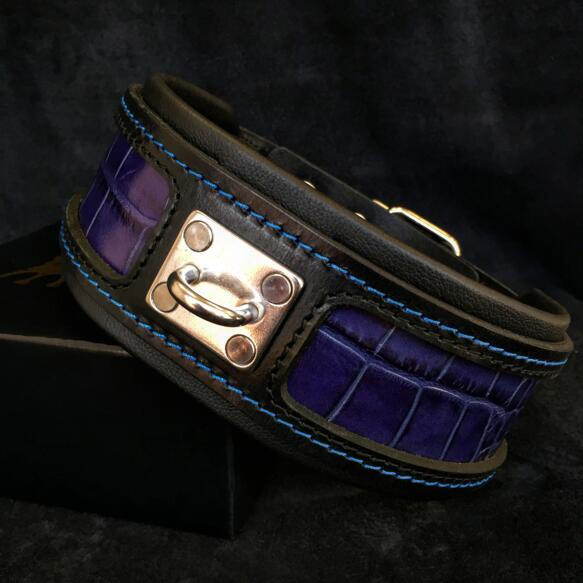 Reptile collar blue leather