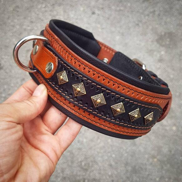 Bestia brown and black studded dog collar