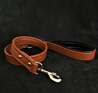 Brown soft leather dog leash