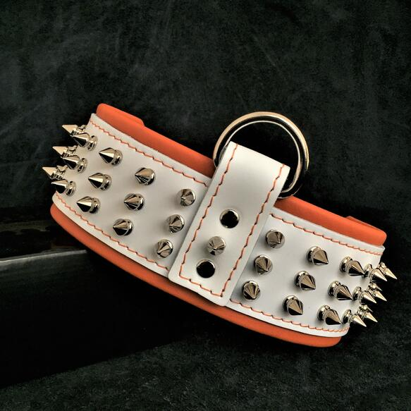 silver giant white spiked dog collar