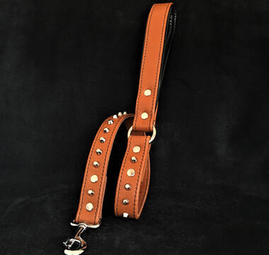Brown soft leather studded leash