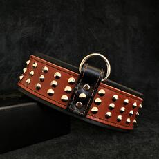 Star collar leather handmade brown