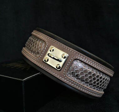 Python-snake pattern leather collar