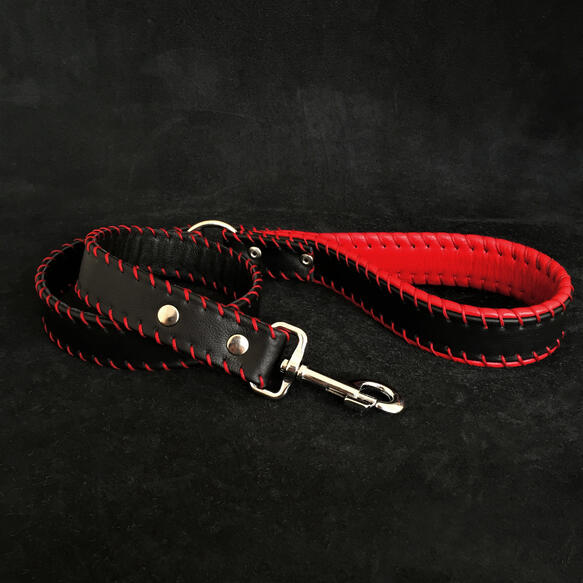 Hand stitched soft leather leash