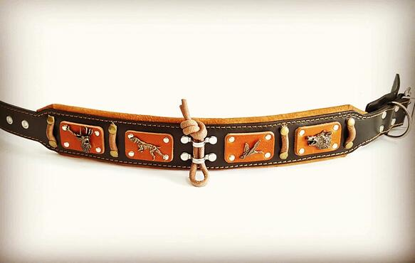 antique brass big dog leather collar