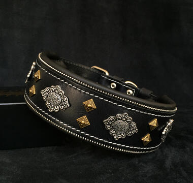 Aztec black dog collar