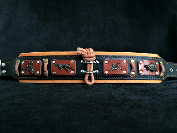 Hunter antique brass big dog leather collar